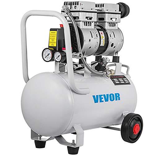 VEVOR Compressore d'Aria Senza Olio Ultra Silenzioso da 6,6 Galloni, Compressore Silenziato, Compressore d'Aria 750 W, Rumorosità meno 48 dB, Compressore d'aria Portatile Senza Olio