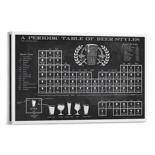 wuqian Periodensystem des Bieres Poster, dekoratives Gemälde, Leinwand, Wandkunst, Wohnzimmer, Poster, Schlafzimmer, Gemälde, 40 x 60 cm