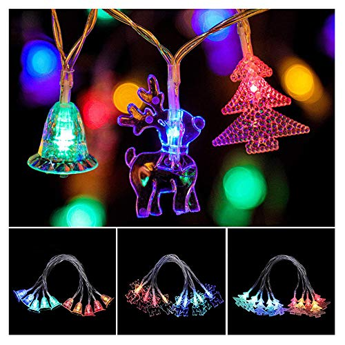 KELUNIS Christmas Decorative Lights, 8 Lighting Modes Led String Lights with Remote Control, Battery Powered, for Various Festivals Ornament