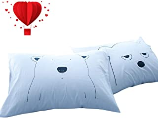 "BuLuTu Cotton Animal Bear Print Bed Pillowcases Set of 2 Queen White Reversible Cartoon Kids Pillow Covers Decorative Standard For Boys Girls Envelope Closure End-Premium,Ultra Soft (2 Pieces,20""×26"")"