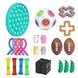 Sensory Fidget Toys Set de 22 piezas para niños y adultos, herramientas antiestrés y antiansiedad con bola de estrés, cuerda elástica, malla de mármol, cadenas de soja y flippy para autismo y TDAH