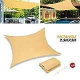 Yidaxing Toldo Vela de Sombra Rectangular 2 x 3 Metros, Protección Rayos UV Toldo Lmpermeable para Patio, Jardín, Exteriores, Color Arena