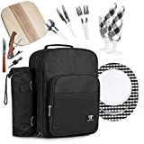 Plush Picnic - 2 Person Picnic Backpack / Picnic Basket with Cooler Compartment, Detachable Bottle/Wine Holder, Fleece Blanket, Plates and Cutlery Set