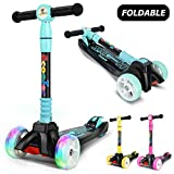 curious kid Kick Scooter for Kids with PU LED Light Up Wheels,Lean to Steer, 4 Adjustable Height,3 Wheels Kick Scooter for Children 2-14 Years Old(Blue)
