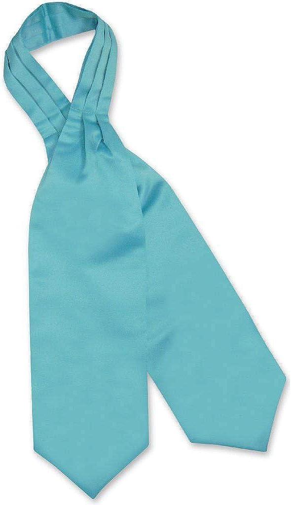 Vesuvio Napoli ASCOT Solid TURQUOISE AQUA BLUE Color Cravat Men's Neck Tie