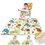 Y-Step Splash Mat para debajo de la trona, alfombrilla de alimentación de bebé, resistente al agua, antideslizante, alfombrilla de juego portátil (vida marina, 110 x 110 cm)