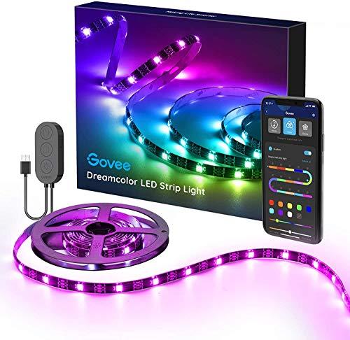Govee RGBIC LED Strip, 2m wasserdichter LED Streifen steuerbar mit App und Sync mit Musik, USB-Betrieb, für TV, Deko, Party