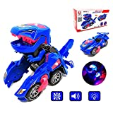 FUGZ Dinosaur Transforming Toys, Dinosaur LED Cars Toys Combined Into One, Dinosaur Cars Toys for 2 3 4 5 6 Year Old Girls and Boys Gifts.