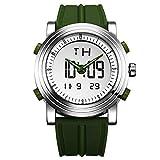 SINOBI Sport Military Rubber Relojes Digitales de Cuarzo y de Cuarzo para Hombres, con Doble Hora automática y Fecha
