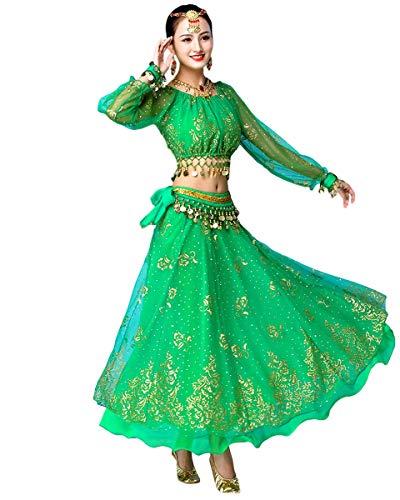 Grouptap Bollywood indische Frauen Langarm Anarkali Lehenga Choli Saree Kleid grün arabische Prinzessin Bauchtanz Rock Outfits Kostüm (Grün,...