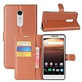 HualuBro Alcatel A3 XL Hülle, Premium PU Leder Leather Wallet HandyHülle Tasche Schutzhülle Flip Hülle Cover mit Karten Slot für Alcatel A3 XL Smartphone (Braun)