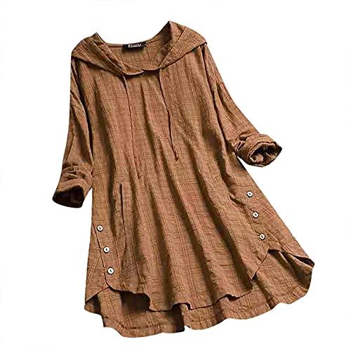 Junjie Blusas Mujer Largos Algodón y Lino Estampado de Cuadros Colores Lisos Camisetas Mujer Suelta y Transpirables para Otoños Camisas de Mujer Cuello Redondo Casual Tops Moderna Damas