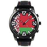 Timest - Bandera de Bielorrusia - Reloj para Hombre con Correa de Silicona Negro SF021