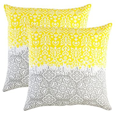 TreeWool, (2 Pack) Throw Pillow Covers Marvel Accent Decorative Pillowcases Toss Pillow Cushion Shams Slips Covers for Sofa Couch (18 x 18 Inches / 45 x 45 cm; Yellow & Grey), White Background