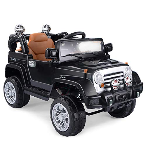 HONEY JOY Ride On Car, 12V Kids Electric Jeep Car with Remote Control, Lockable Doors, Spring Suspension, LED Lights, Music, Horn, Suitable for Boys and Girls (Black)