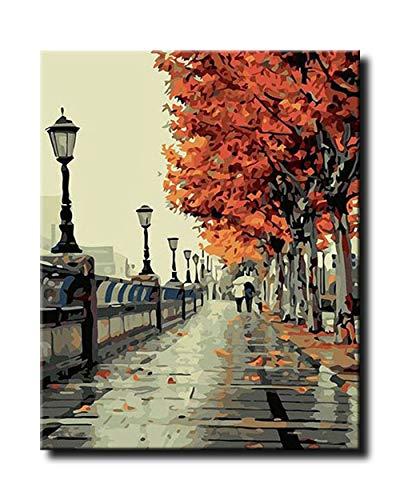 Shukqueen Kits de peinture à l'huile de bricolage, peinture par numéro pour adulte, acrylique Painting-romantic Amour Automne 40,6 x 50,8 cm, Framed Canvas