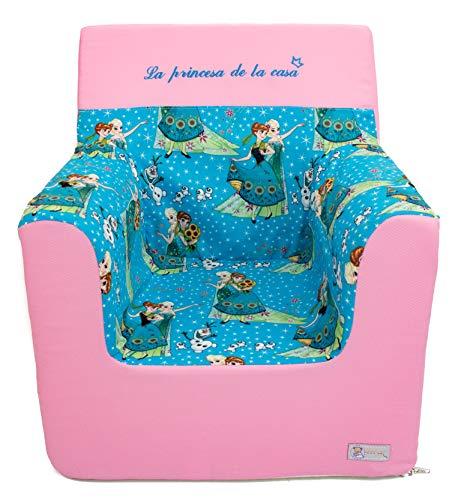 Borda y más Sillón o Asiento Infantil de Espuma para bebés y niños. Varios Modelos y Colores Disponibles. (Frozen Turquesa)