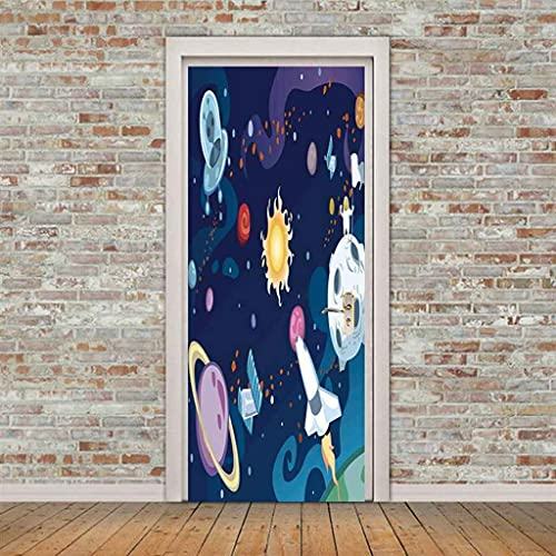 CUUDBP 3D Pegatinas De Pared Para Sala Oficina Planeta Espacial De Dibujos Animados 77X200Cm Creativo Mural De Puerta Pvc Impermeable Autoadhesivo Removible Papel Tapiz Murales Foto Posters Decoracion