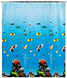 WENKO Duschvorhang Ocean - wasserdicht, leicht zu pflegen, Polyethylen-Vinylacetat, 180 x 200 cm, Mehrfarbig
