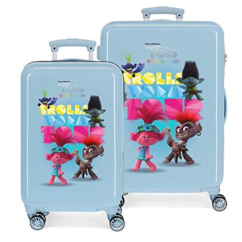 Trolls World Tour Juego de maletas Azul 55/65 cms Rígida ABS Cierre combinación 93L 4 ruedas dobles Equipaje de Mano