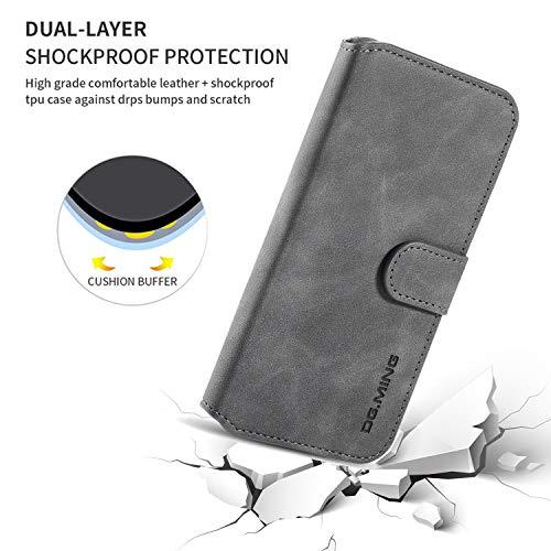 xinyunew Hülle Kompatibel mit Samsung Galaxy M30s Hülle, 360 Grad Handyhülle + Panzerglas Premium Handy Schutzhülle Leder Wallet Tasche Flip Brieftasche Etui Schale (Grau)