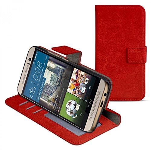 eFabrik Hülle für HTC One M9 & HTC One M9 Prime Camera Edition Schutzhülle Cover Handy Zubehör Tasche m. Aufsteller Innenfächer Leder-Optik rot