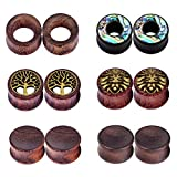 wood 5 8 plugs - Stuppendux 6Pairs Natural Organic Wood Hollow Double Flared Flesh Ear Gauges Plugs Tunnels Ear Expander 5/8