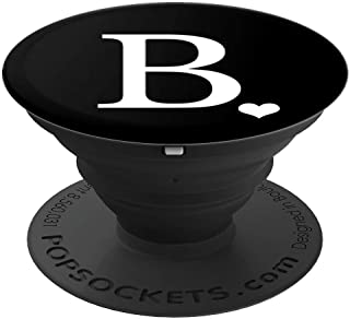 White Initial Letter B heart Monogram on Black - PopSockets Grip and Stand for Phones and Tablets