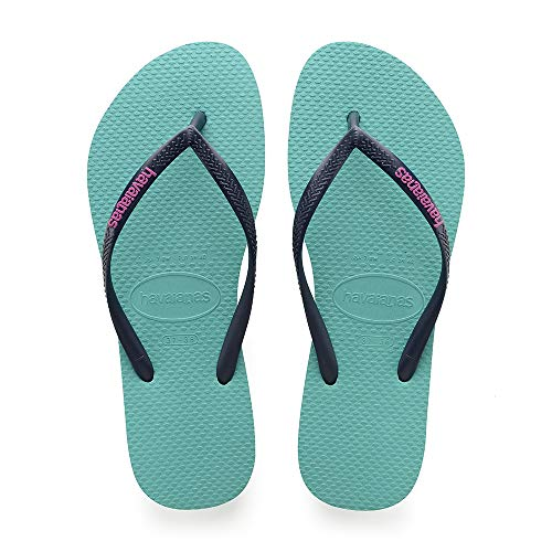 Havaianas Slim Logo, Tongs Femme Vert (Lake Green) (Taille Fabricant 37/38) 37/38 EU