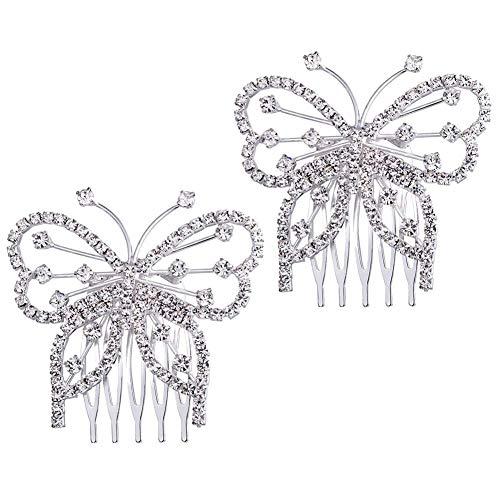 Dusenly 2 horquillas para el pelo de novia de cristal con diamantes...