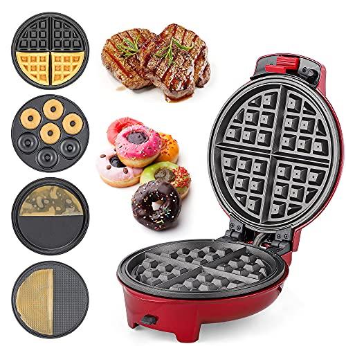 CGOLDENWALL Piastra per Waffle 4 in 1 with Piastre Antiaderenti e Rimovibili 0-200 ℃ Termostato Regolabile per Ciambella/Cono gelato/Pancake/Belgio Waffle 220x250x120mm (Macchina + 4 Piastre)