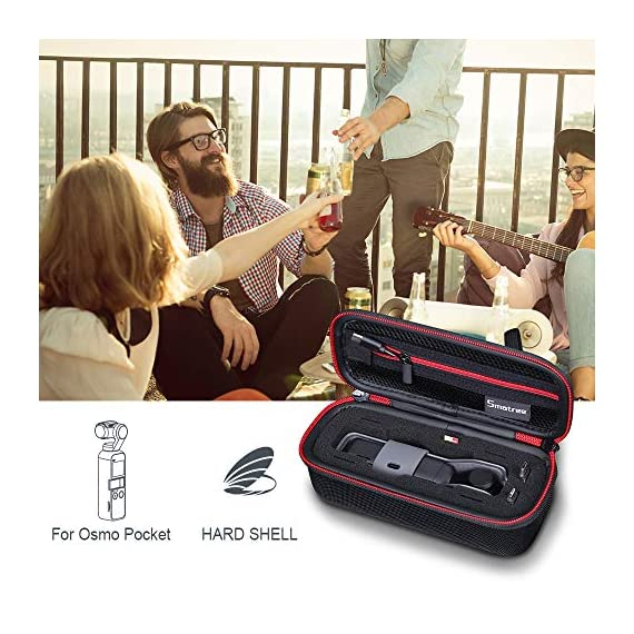 """Smatree Hard Carrying Case Compatible with DJI Osmo Pocket 2/Osmo Pocket, Extension Rod, OSMO Pocket Waterproof Case and… 3 Size: Small, Dimensions: 7.6"""" x3.5"""" x2.8"""" compact and easy to store in backpacks or carry-on luggage; recommend for traveling and home storage. Nice shaped compartments fit for osmo pocket, it can holds 1 x osmo pocket,4 x Neutral density filters,2 x SD Cards,2 x Smartphone Adapter(Refer to pictures). With comfortable hand strap for easy carrying. The hand strap can be easily attached to a belt or large bag."""