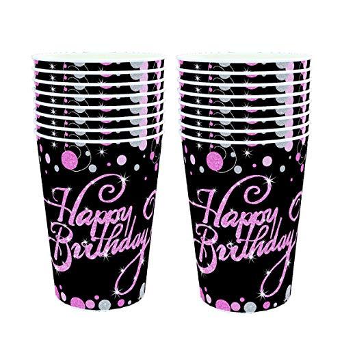VAINECHAY 48 Stück Tassen Pappbecher Kaffeebecher Probierbecher Trinkbecher Einwegbecher PartygeschirrParty Cups Geburtstagsparty, Rosa