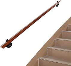 Interior Wall Mount Stair Handrail with Supports, Wall Mounted Hand Rail Railing,Wooden Staircase Handrail Kit