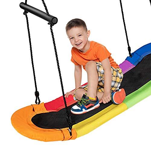 COSTWAY Nestschaukel Baumschaukel 100-160cm verstellbaren Seil, Hängeschaukel 150kg Tragkraft, Mehrkindschaukel Gartenschaukel für Kinder & Erwachsene 123x45cm (Bunt)