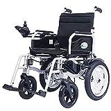 Mnjin Silla de Ruedas Silla de Transporte de energía eléctrica Inteligente, Plegable Ligera, admite 100 kg, sillas de Transporte motorizadas cómodas para Uso doméstico, de travesía y al Aire