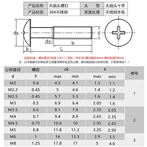 M2M2.5M3M4, acero inoxidable 304 tornillos de cabeza plana grandes tornillos de máquina de cabeza plana grande tornillos de cabeza plana-M3 * 45 (20 piezas)