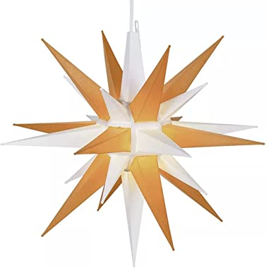 """21"""" Large (Yellow/White) Illuminated LED Holiday Moravian Star - Outdoor Hanging Christmas Decoration Star - Advent & Chr"""