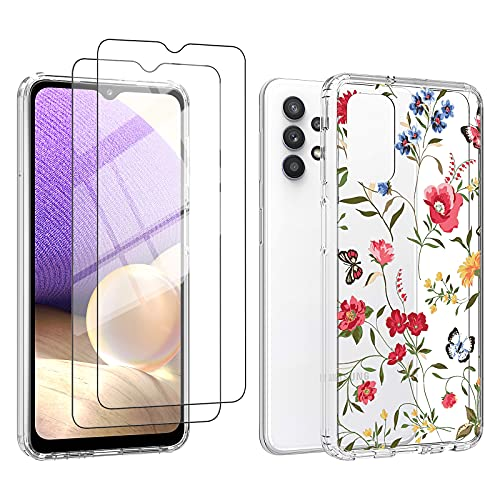UNPEY for Samsung Galaxy A32 5G Case with Screen Protector, Cute Wildflowers Hard Acrylic Back Cover + Soft TPU Bumper, Non-Slip Shockproof Protective Case Cover for Girls Women