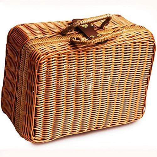 Mackur Retro Kleine Aufbewahrungsbox, Simulation Rattan Woven Koffer Aufbewahrungskorb aus Rattan Geflochten Koffer Picknickkorb