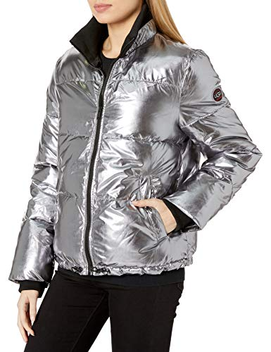 UGG Damen Izzie Puffer Jacket Nylon Daunenalternative, Mantel, Silberfarben metallisch, Large