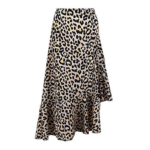 iBaste Mujeres Sexy Split Larga Falda Cintura Alta Volantes Estampado Leopardo Vestido de Oscilación Grande Casual Faldas