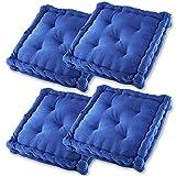 Gräfenstayn® Set de 4 Cojines, Cojines para Silla de 40 x 40 x 8 cm para Interior y Exterior de 100% algodón cojín Acolchado/cojín para el Suelo (Azul)
