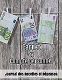 Carnet de Compte Personnel: Journal des Recettes et Dépenses | Gérer votre budget,vos recettes,vos dépenses et tenir vos comptes | Gestion de compte | Compte personnel | Comptabilité