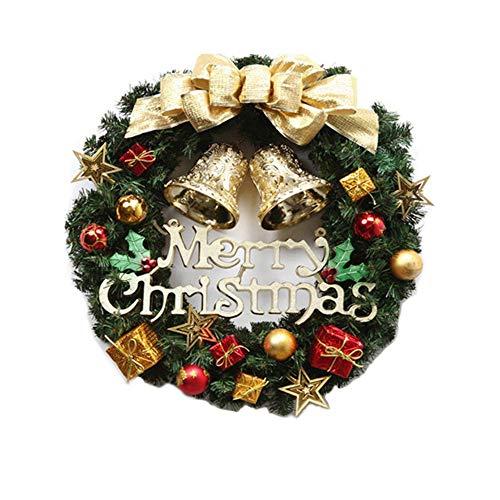 12 Inch Christmas Wreath, Front Door Decoration Wreath Hanging Christmas Garland for Home Wedding Party Window Indoor Outdoor Decoration (Gold)