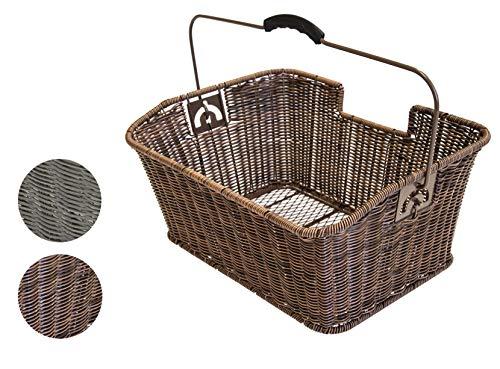 Büchel Fahrrad-Gepäckträgerkorb, hochwertiges Polyrattan, einfache Befestigung auf dem Gepäckträger mit Halteclip, verschiedene Farben