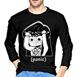 Luciy Anime Manga Panic Chibi Komi San Meme Tri-Blend Long Sleeve Cotton T Shirt for Men Black