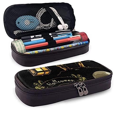 XCNGG Kosmetiktasche mit Federmäppchen Set Halloween Hand Drawing ElementsLeather Pencil case, Waterproof, Fashionable and Durable, can be Used for Students, Schools, Offices, Colleges