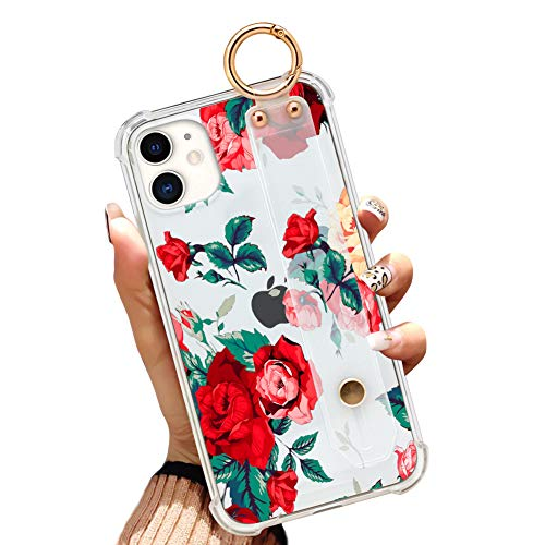 iPhone 11 6.1 Inch 2019 Clear Anti-Yellow Slim Phone Case Gasbag Full Protective Cover Red Flower Floral Shell with Wrist Strap for iPhone 11