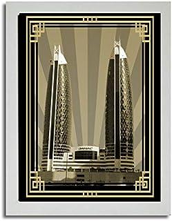 صورة الدماك برج سيبيا مع إطار ذهبي بدون نص F03-NM (A3)